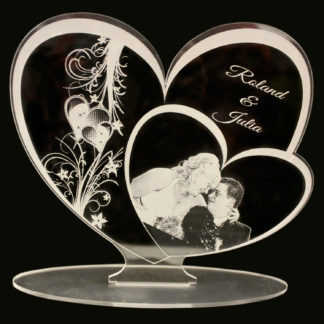 Acrylglasbild mit Fotogravur Herzform